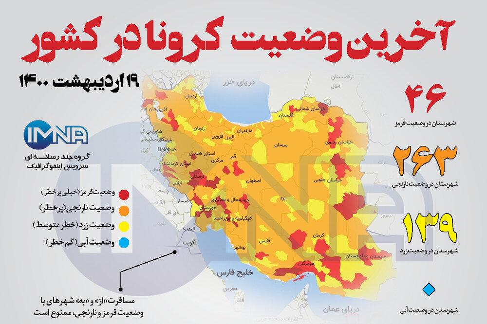 آخرین وضعیت کرونا در کشور (۱۹اردیبهشت ۱۴۰۰) + وضعیت شهرستانها / اینفوگرافیک
