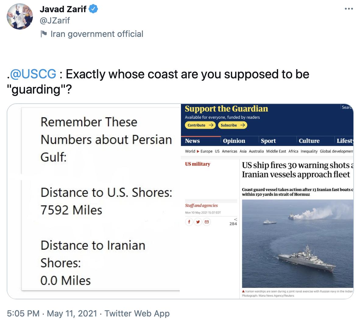واکنش ظریف به شلیک هشدار آمریکاییها به سوی قایقهای ایرانی