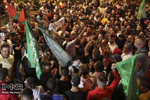 شادی مردم فلسطین از پیروزی مقاومت