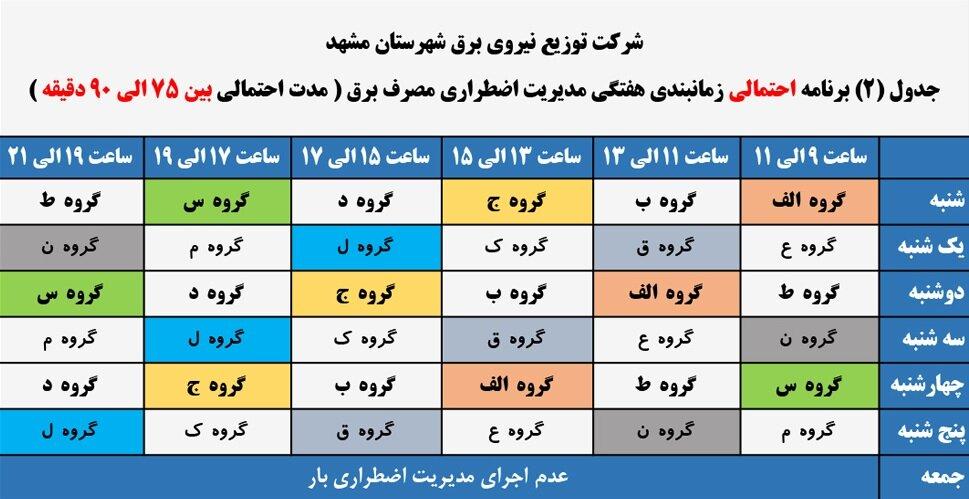 جدول قطعی برق مشهد امروز یک خرداد + لیست مناطق و دانلود
