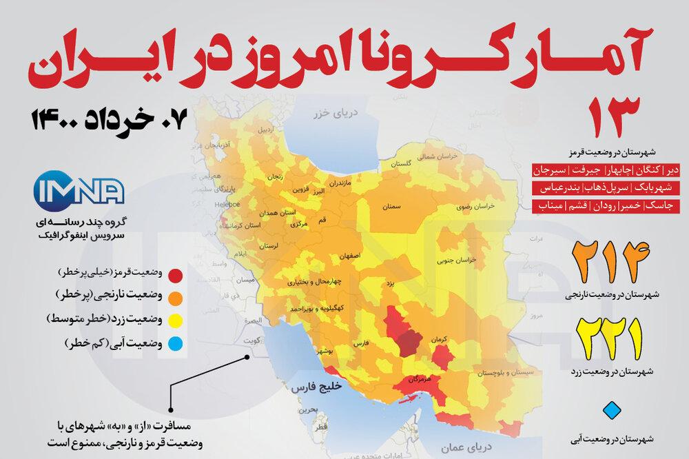 آمار کرونا امروز در ایران (جمعه ۰۷ خرداد ۱۴۰۰) + وضعیت شهرهای کشور