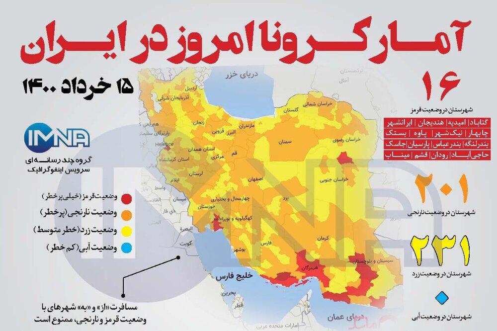 آمار کرونا امروز در ایران (شنبه ۱۵خرداد ۱۴۰۰) + وضعیت شهرهای کشور
