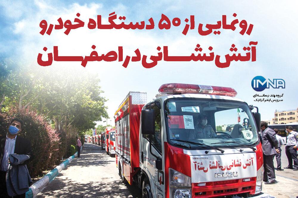 رونمایی از ۵۰ دستگاه خودرو آتش نشانی در اصفهان/اینفوگرافیک