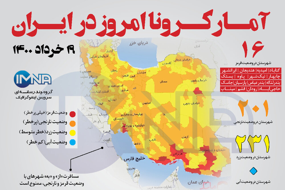 آمار کرونا امروز در ایران( چهارشنبه ۱۹خرداد ۱۴۰۰) + وضعیت شهرهای کشور