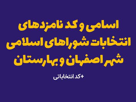 اسامی و کد نامزدهای انتخابات شوراهای اسلامی شهر اصفهان و بهارستان