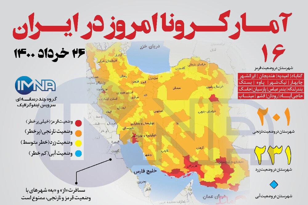 آمار کرونا امروز در ایران( چهارشنبه ۲۶خرداد ۱۴۰۰) + وضعیت شهرهای کشور