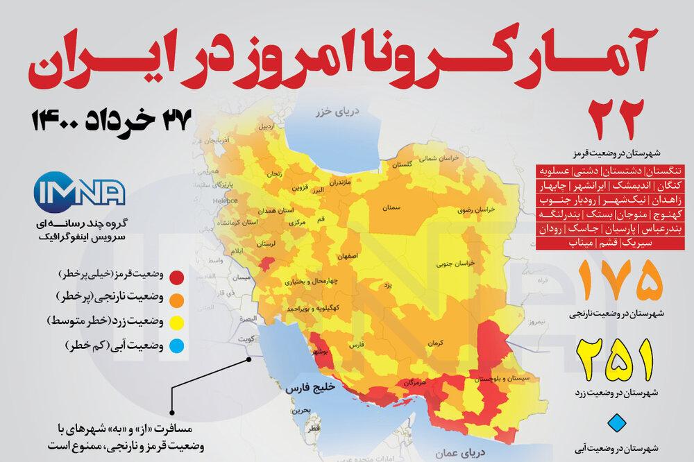 آمار کرونا امروز در ایران( پنجشنبه ۲۷خرداد ۱۴۰۰) + وضعیت شهرهای کشور