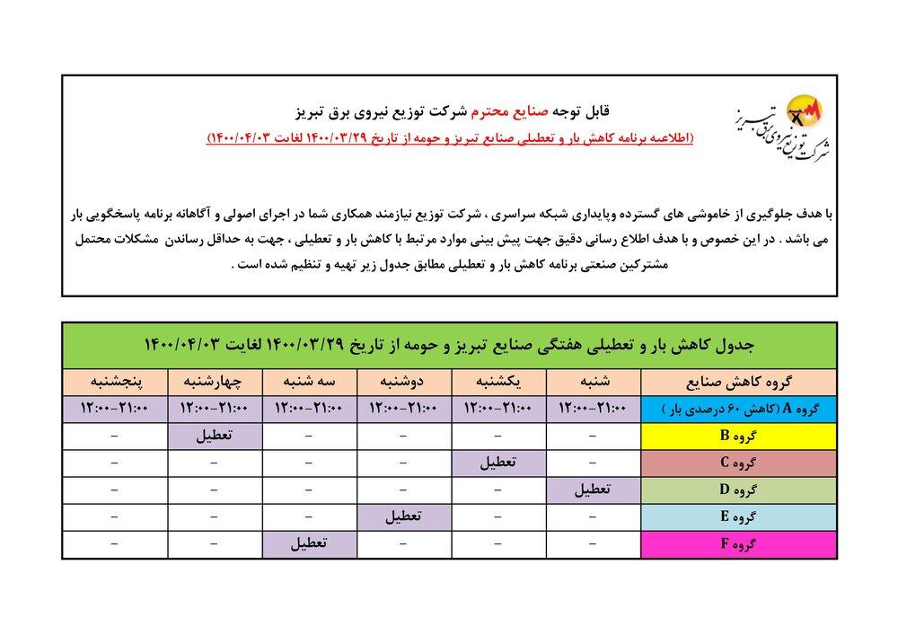 برنامه قطعی برق تبریز ۲۹ خرداد الی ۳۱ تیر ماه ۱۴۰۰ + لیست مناطق و دانلود جدول قطع برق