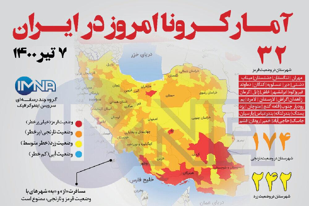 آمار کرونا امروز در ایران( دوشنبه ۷ تیر ۱۴۰۰) + وضعیت شهرهای کشور