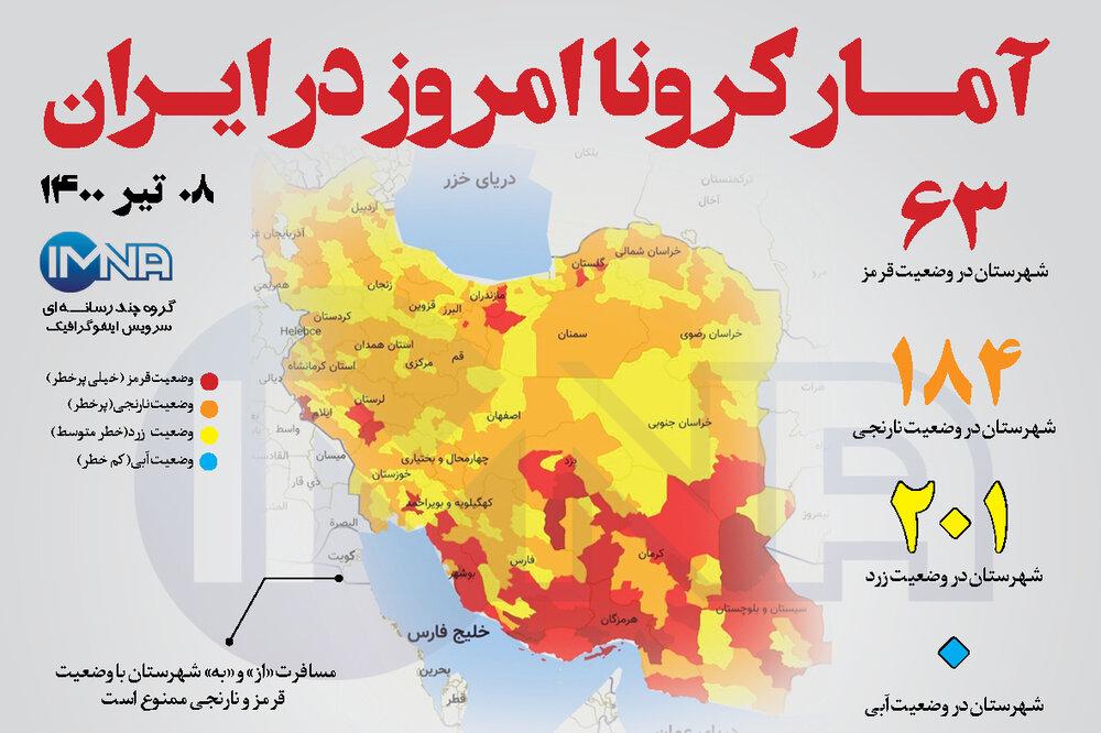 آمار کرونا امروز در ایران( سه شنبه ۸ تیر ۱۴۰۰) + وضعیت شهرهای کشور