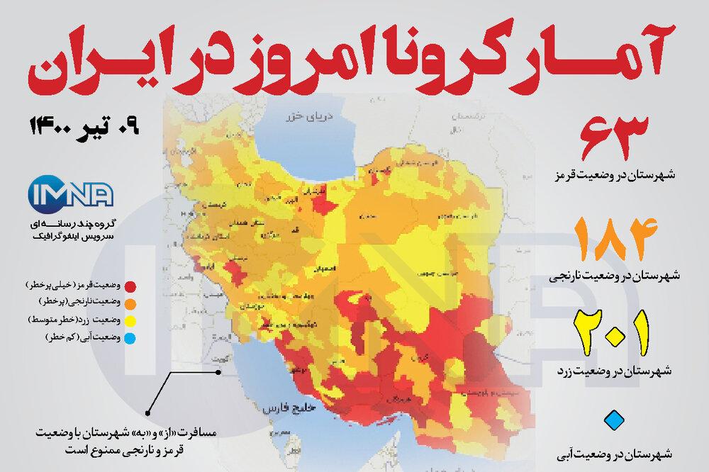آمار کرونا امروز در ایران( چهارشنبه ۹ تیر ۱۴۰۰) + وضعیت شهرهای کشور