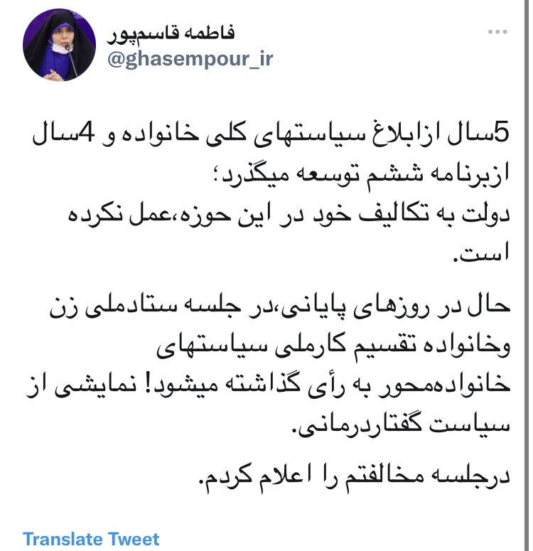 مخالفت نماینده مردم تهران با تقسیم کارملی سیاست های خانوادهمحور