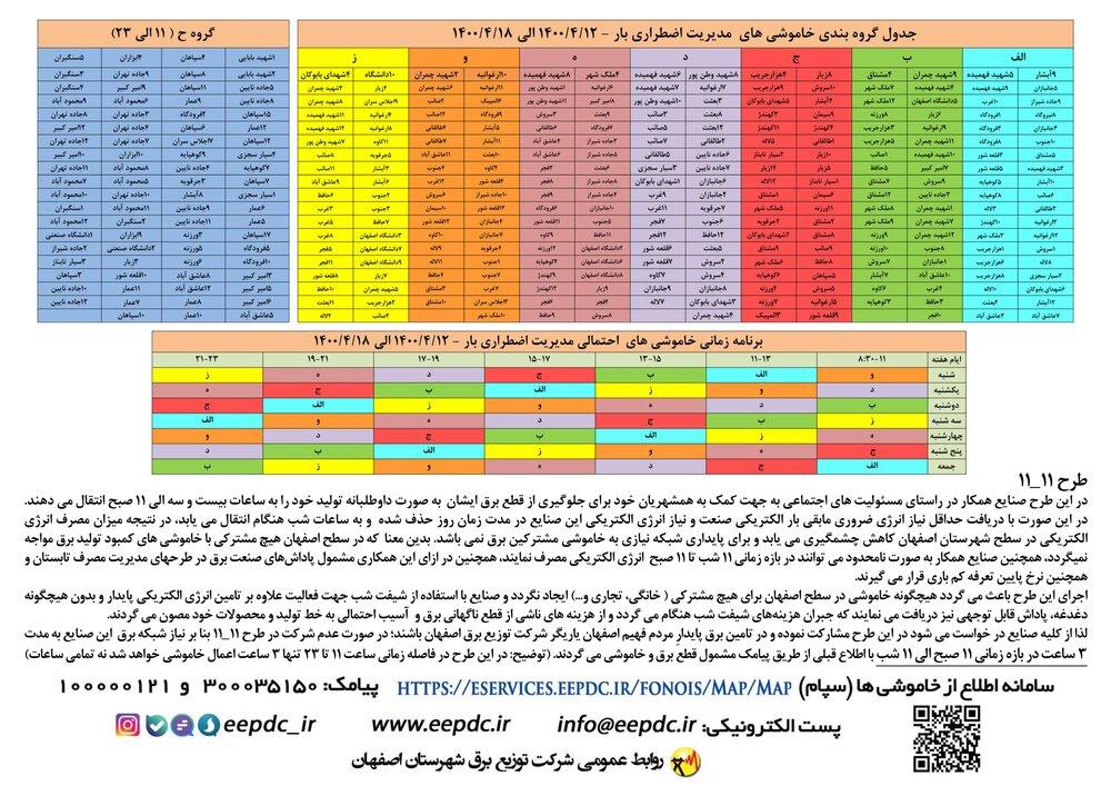 برنامه قطعی برق اصفهان