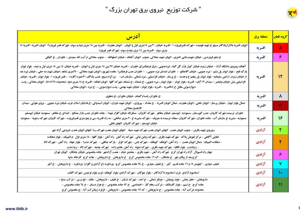 جدول قطعی برق تهران 20 تیر