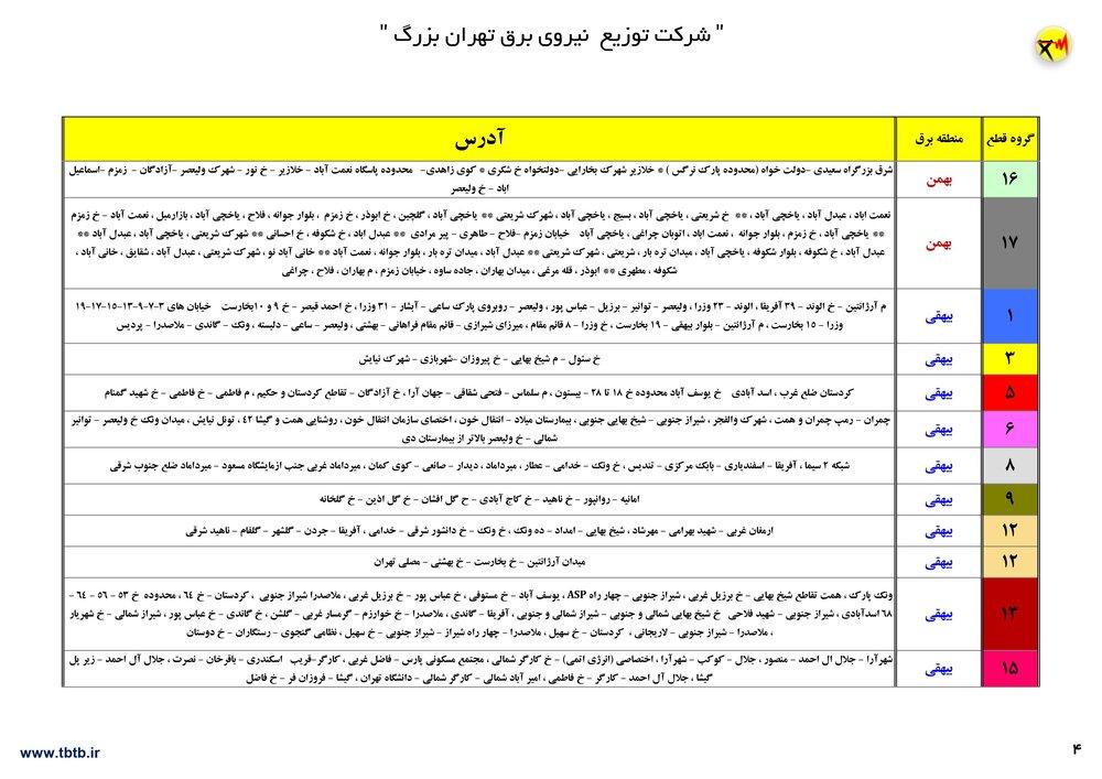 زمان بندی قطعی برق در تهران