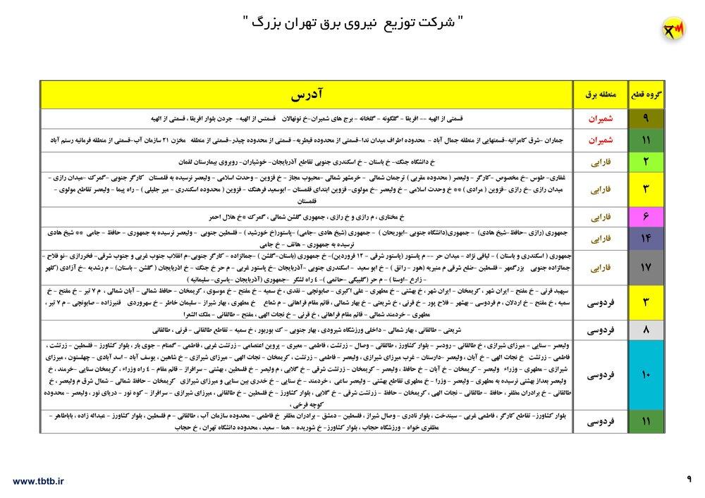جدول قطعی برق تهران 1400