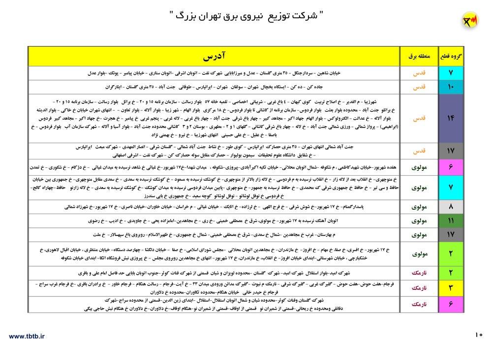 لیست قطعی برق تهران