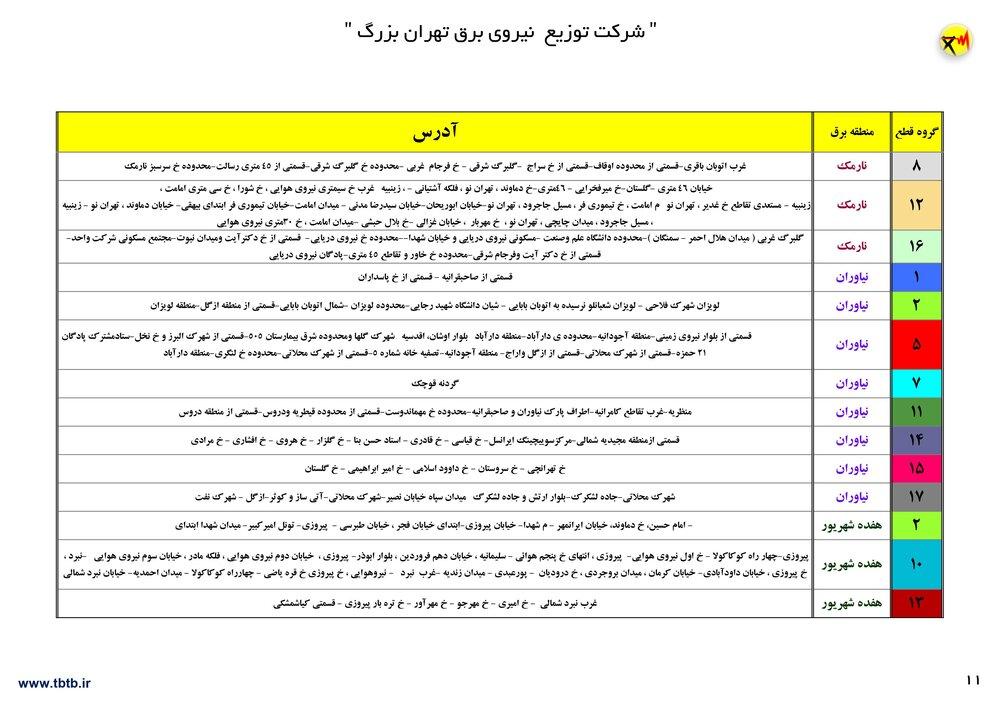 نقشه قطعی برق تهران