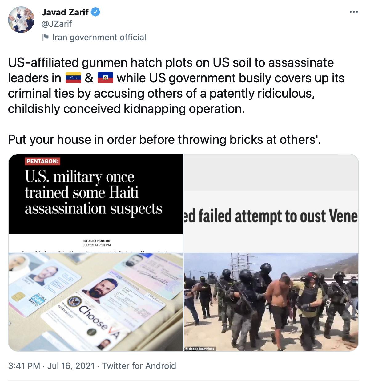 ظریف: پیش از متهم کردن دیگران به وضعیت خودتان بپردازید