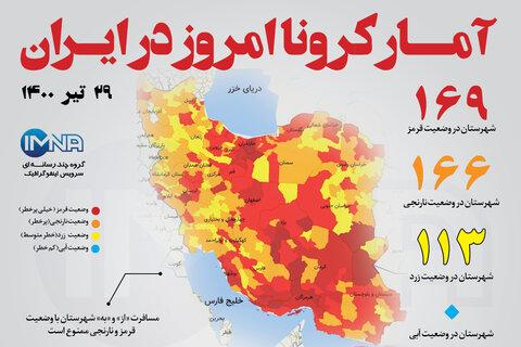 آمار کرونا امروز در ایران (سه شنبه ۲۹ تیر ۱۴۰۰) + وضعیت شهرهای کشور