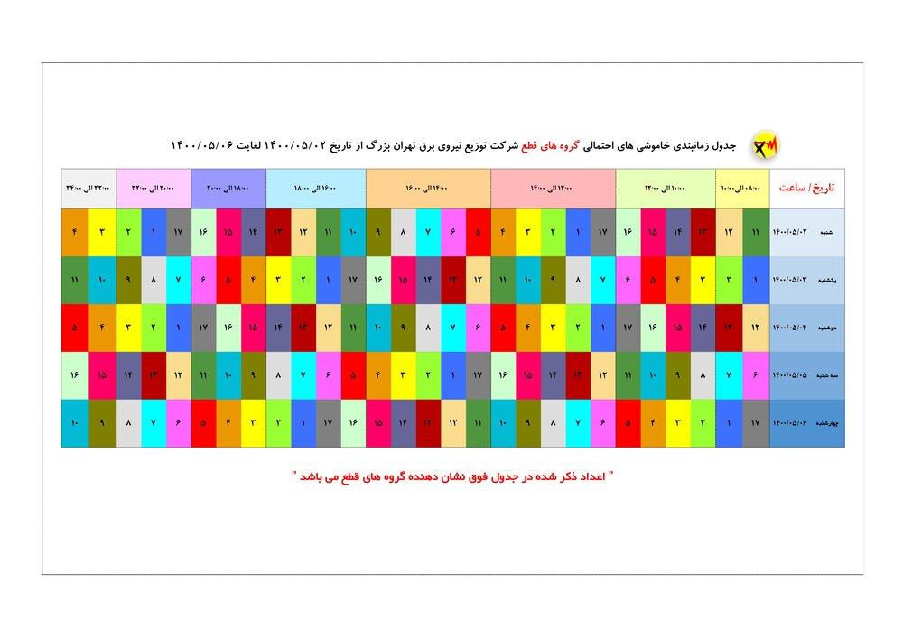 برنامه قطعی برق تهران  ۶ مرداد ۱۴۰۰