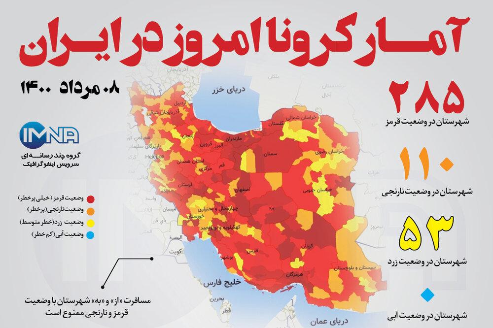 آمار کرونا امروز در ایران (جمعه ۰۸ مرداد ۱۴۰۰) + وضعیت شهرهای کشور