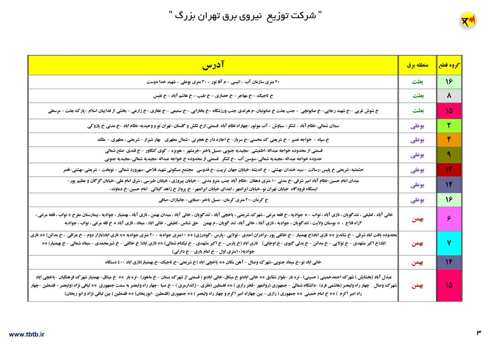 قطعی برق مناطق تهران