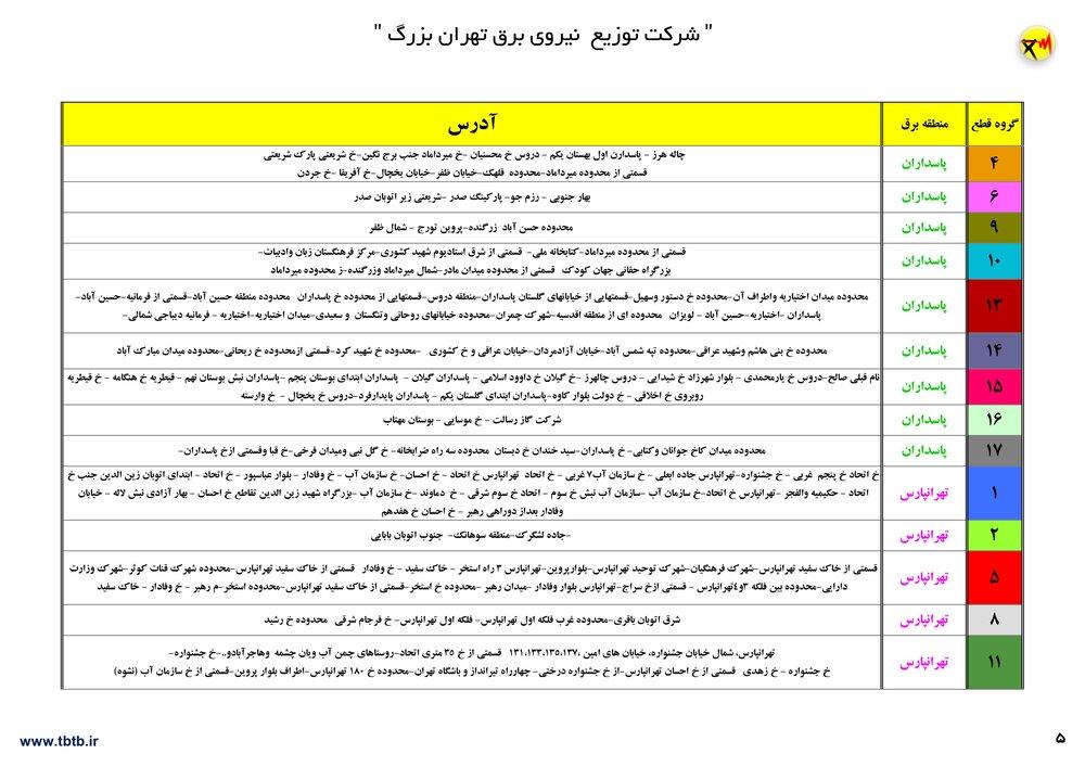 لیست خاموشی های تهران