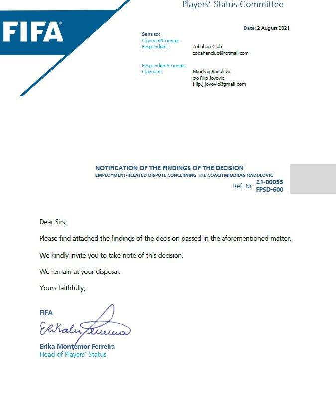 فیفا به نفع ذوبآهن رای داد + تصویر حکم