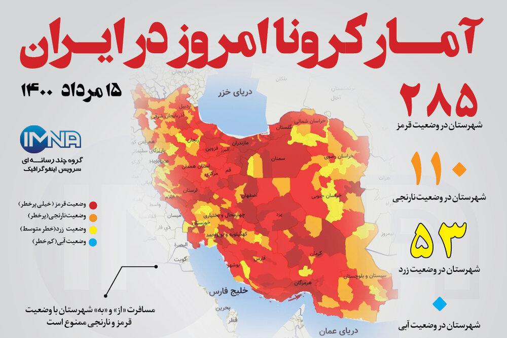 آمار کرونا امروز در ایران (جمعه ۱۵ مرداد ۱۴۰۰) + وضعیت شهرهای کشور