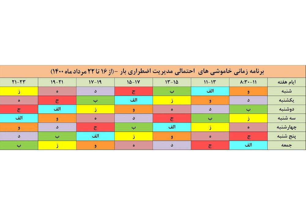 برنامه قطعی برق اصفهان ۱۶ تا ۲۲ مرداد ۱۴۰۰ + ساعات قطع، لیست مناطق و دانلود جدول برق