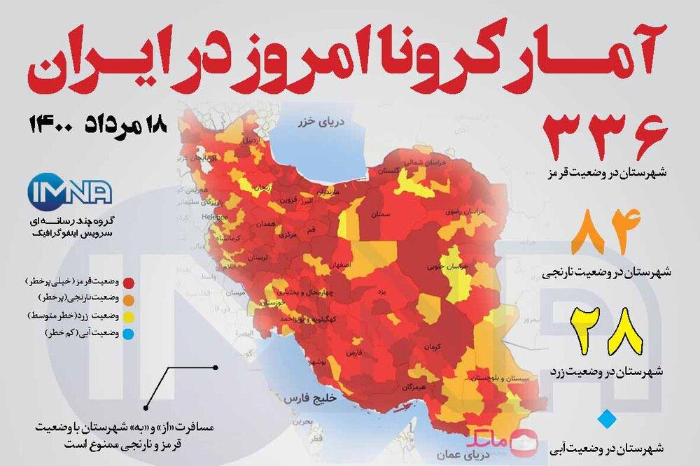 آمار کرونا امروز در ایران (دوشنبه ۱۸ مرداد ۱۴۰۰) + وضعیت شهرهای کشور