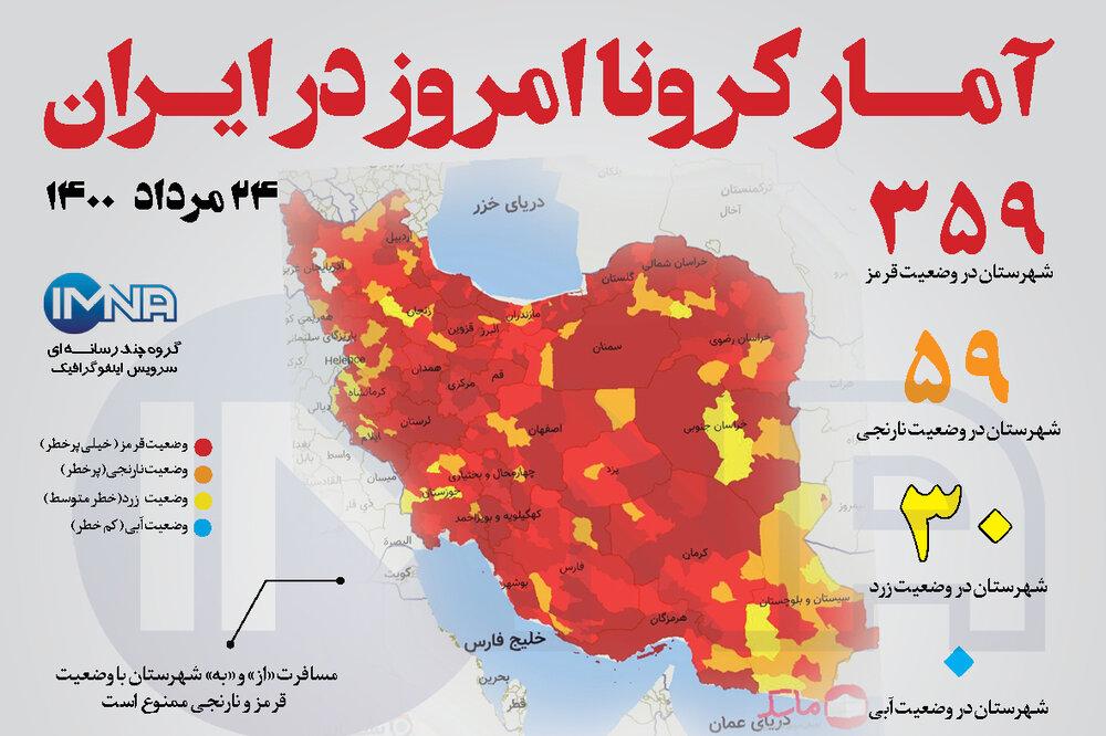 آمار کرونا امروز در ایران (یکشنبه ۲۴ مرداد ۱۴۰۰) + وضعیت شهرهای کشور