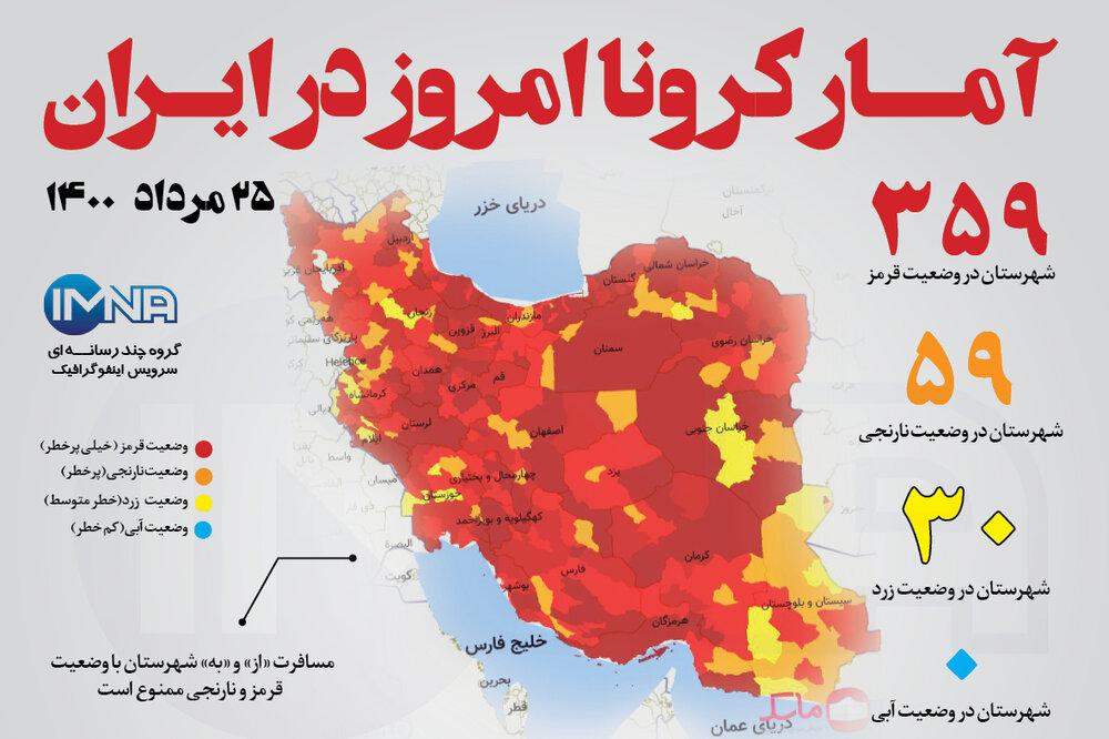 آمار کرونا امروز در ایران (دوشنبه ۲۵ مرداد ۱۴۰۰) + وضعیت شهرهای کشور