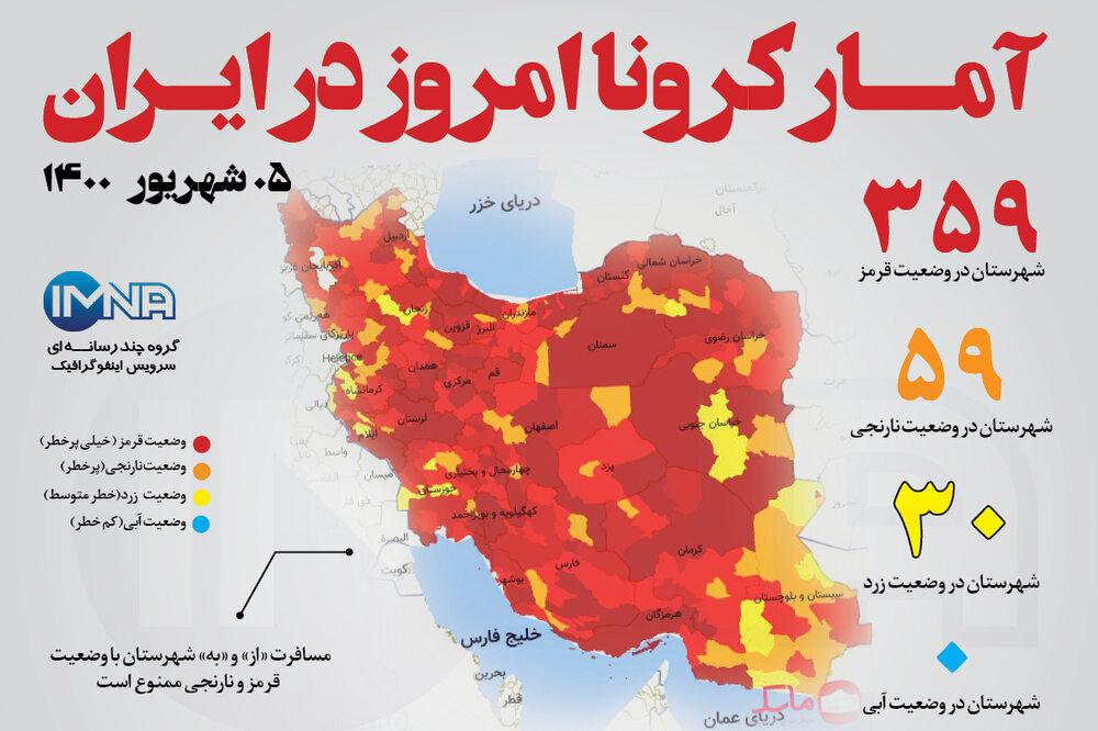 آمار کرونا امروز در ایران (جمعه ۰۵ شهریور ۱۴۰۰) + وضعیت شهرهای کشور