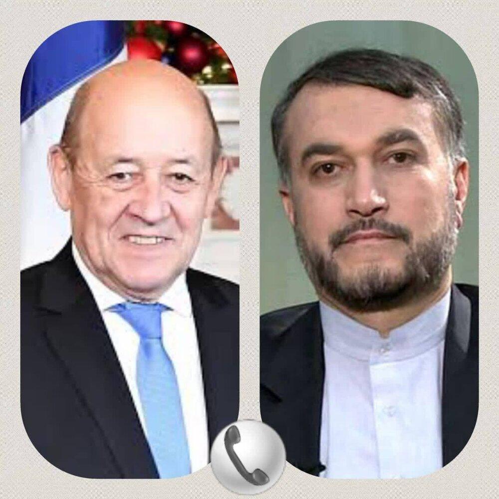 گفت وگوی تلفنی وزرای امور خارجه جمهوری اسلامی ایران و فرانسه