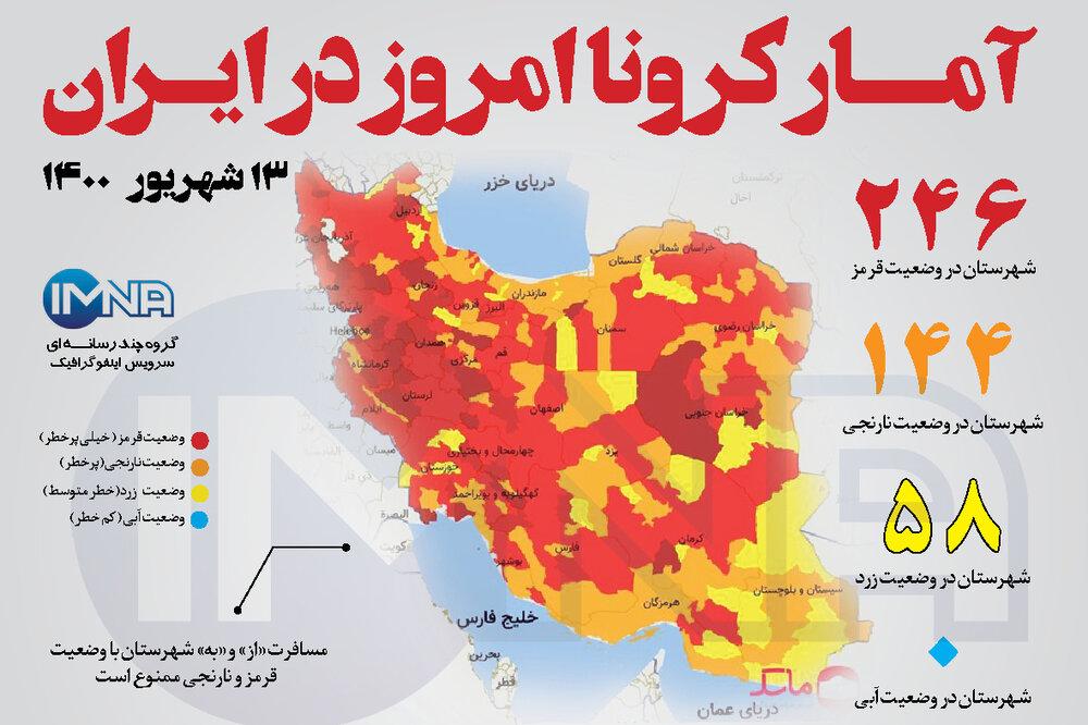 آمار کرونا امروز در ایران (شنبه ۱۳ شهریور۱۴۰۰) + وضعیت شهرهای کشور