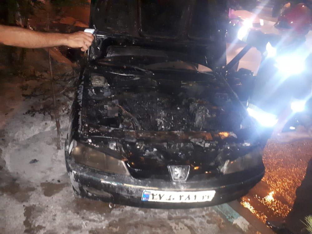 خودرو پژو طعمه حریق شد+ عکس