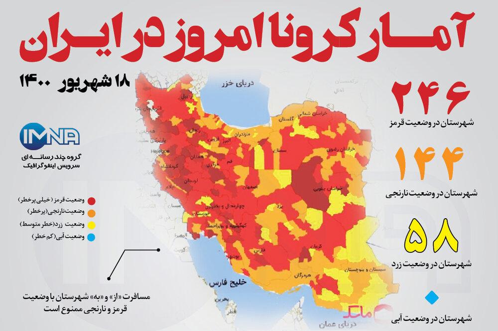 آمار کرونا امروز در ایران (پنجشنبه ۱۸ شهریور۱۴۰۰) + وضعیت شهرهای کشور