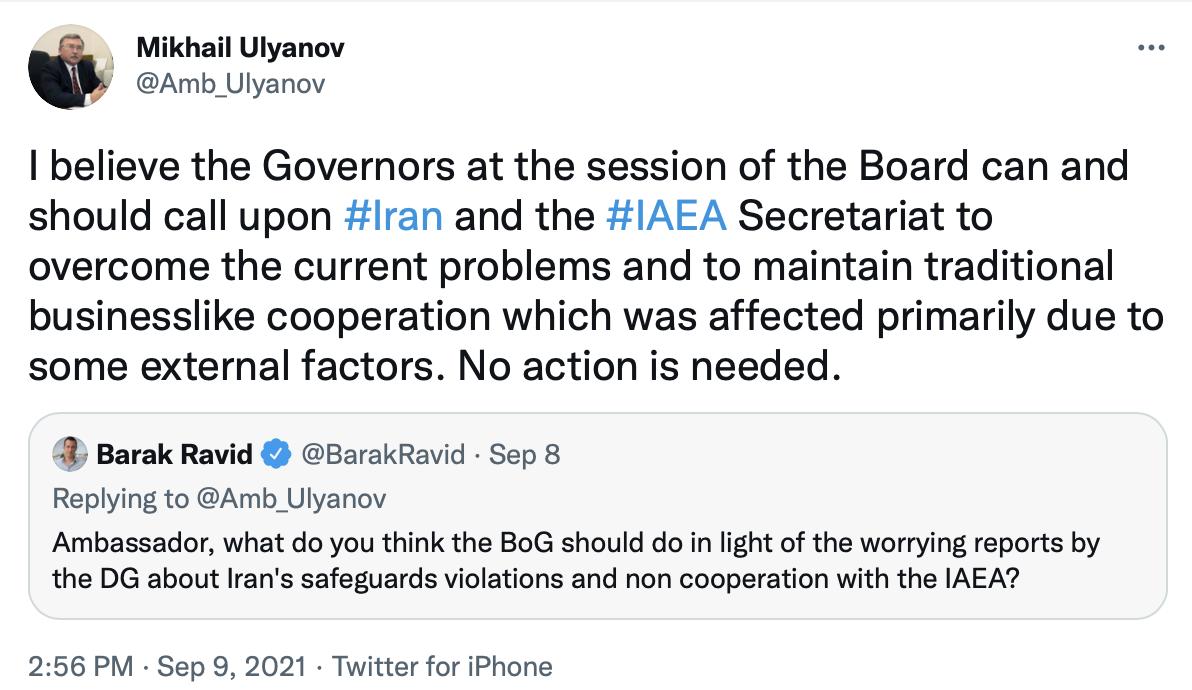 اولیانوف درباره اقدام علیه ایران در نشست شورای حکام هشدار داد