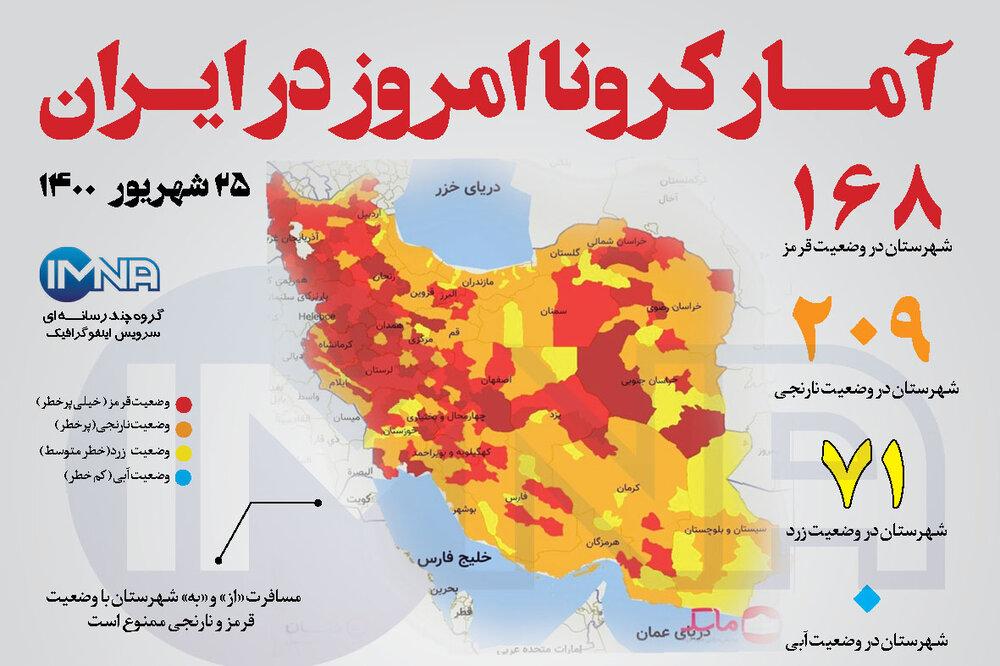 آمار کرونا امروز در ایران (پنجشنبه ۲۵ شهریور۱۴۰۰) + وضعیت شهرهای کشور