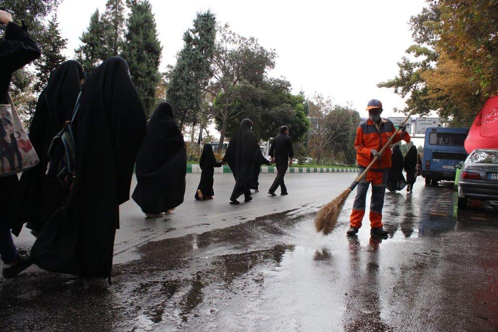 استقرار ۲۵۰ نفر پاکبان در مسیر پیاده روی زائران / نصب ۳۷ المان شمسه