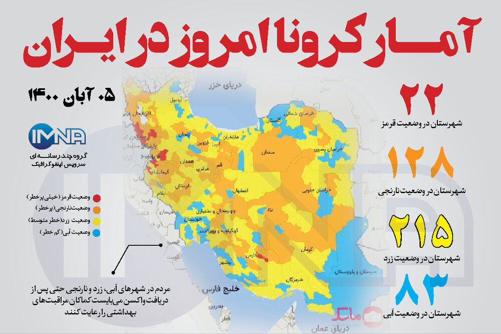 آمار کرونا امروز در ایران (چهارشنبه ۵ آبان ۱۴۰۰) + وضعیت شهرهای کشور
