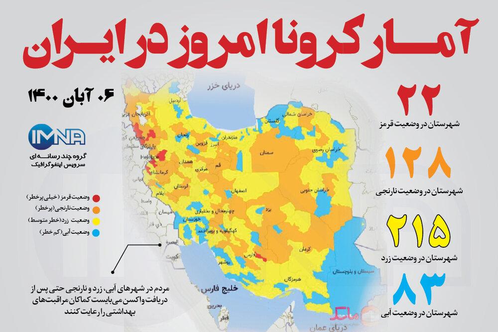 آمار کرونا امروز در ایران (پنجشنبه ۶ آبان ۱۴۰۰) + وضعیت شهرهای کشور