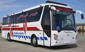 استقرار اتوبوس امبولانس در سه راهی جندق